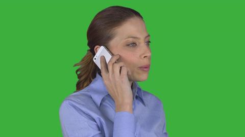 Business woman finishes conversation (Green Key) ビデオ