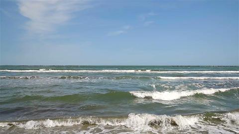 The Black Sea Waves At Shoreline In Romania Footage