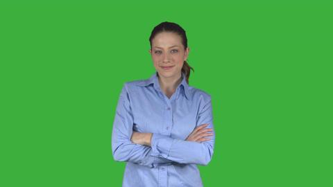 Female business person with flirtatious look (Greren Key) ビデオ