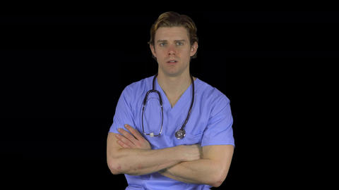 Stressed man in medical clothing (Transparent Background) Footage