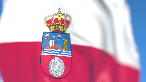 Flying flag of Cantabria, an autonomous community in Spain. Close-up, loopable Footage