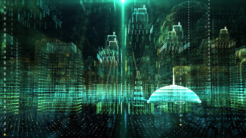 Futuristic Holographic Digital Matrix Cyber City Animation