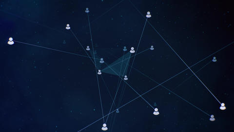 Floating Social Connections on Dark Blue Background Animation