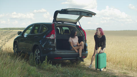 Diverse female friends ready for summer road trip Live Action
