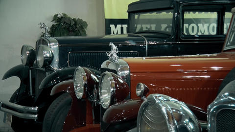 Beautiful Old and preserved cars in museum Live Action