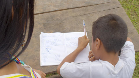 Young Indigenous Woman Helps A Young Boy With His Homework In Ecuador Live Action