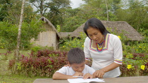Young Indigenous Woman Helps A Boy With His Homework In Ecuador Live Action