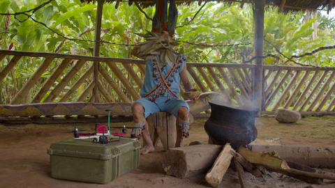 Indigenous Shaman Performs A Traditional Ritual On A... Stock Video Footage