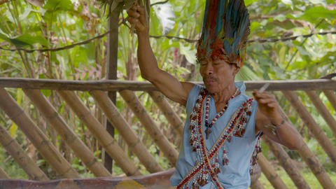Indigenous Old Man Performs A Shamanic Ritual In Ecuador Live Action