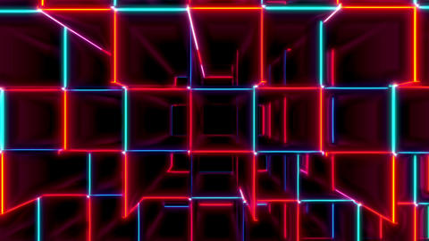 Red And Blue Cubes Displacement Seamless VJ Loop Animation