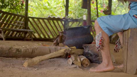 Medium Shot Of A Shaman'S Legs Performing A Magical Ritual In Ecuador Live Action