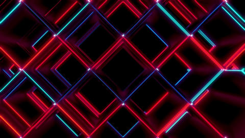 Red And Blue Cubes Rotated Wave Seamless VJ Loop Animation