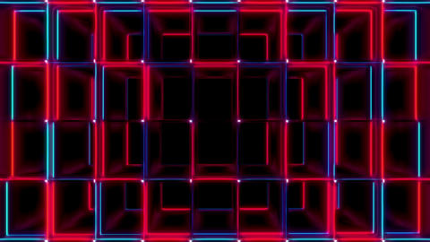 Red And Blue Cubes Stretched Zoom Seamless VJ Loop Animation