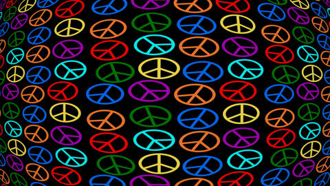 Multicolored anti-war symbole moving on black background, hippies movement, 60s Animation
