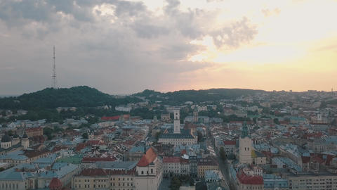 Aerial City Lviv, Ukraine. European City. Popular areas of the city. Town Hall Live Action
