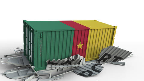 Cargo container with flag of Cameroon breaks container with EXPORT text Live Action