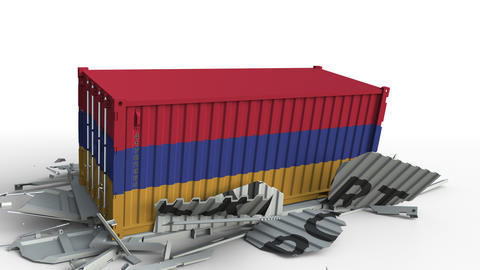Container with flag of Armenia breaks container with EXPORT text. Conceptual 3D Live Action