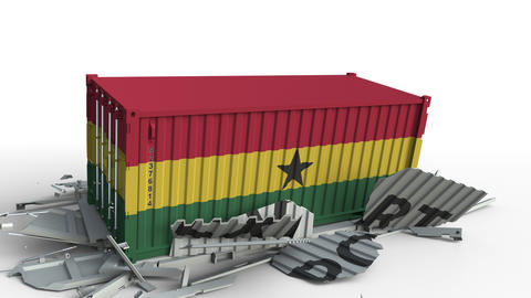 Cargo container with flag of Ghana breaks container with EXPORT text. Conceptual Live Action