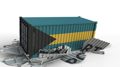 Cargo container with flag of Bahamas breaks container with EXPORT text Live Action