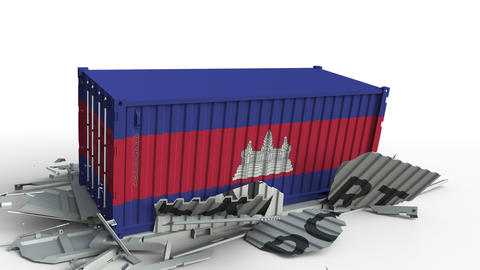 Cargo container with flag of Cambodia breaks container with EXPORT text Live Action