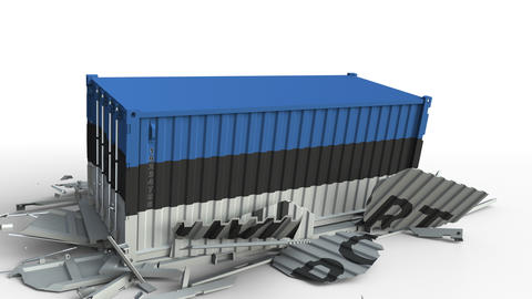 Cargo container with flag of Estonia breaks container with IMPORT text Live Action