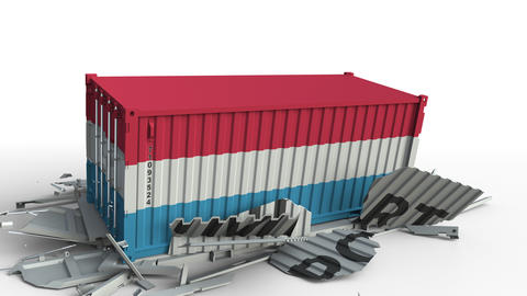 Container with flag of Luxembourg breaks container with IMPORT text. Conceptual Live Action