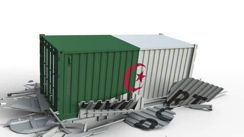 Cargo container with flag of Algeria breaks container with IMPORT text Live Action