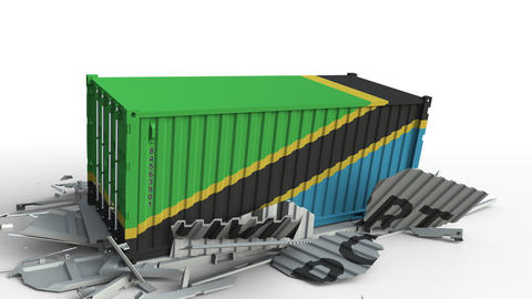 Cargo container with flag of Tanzania breaks container with IMPORT text Live Action