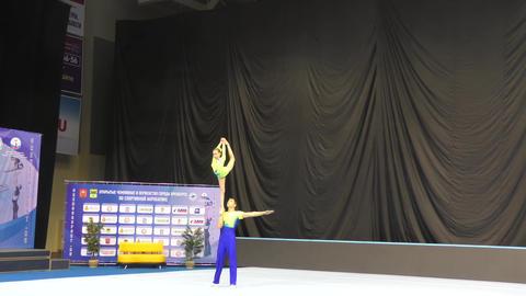 Orenburg, Russia, December 14, 2017 year: Juniors compete in sports acrobatics Footage