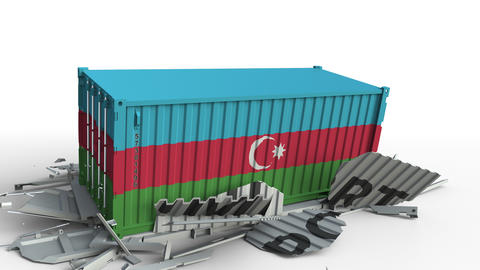 Cargo container with flag of Azerbaijan breaks container with IMPORT text Live Action