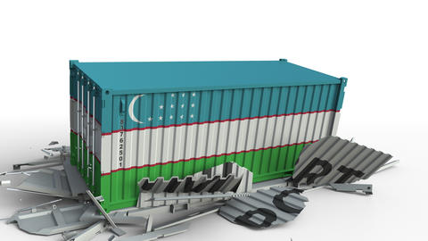 Cargo container with flag of Uzbekistan breaks container with IMPORT text Live Action