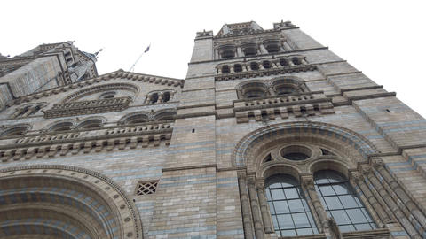 Beautiful facade of Natural History Museum London, 4k, Live Action