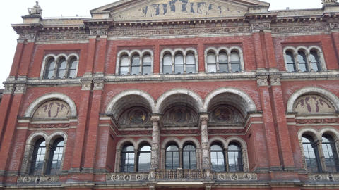 Dolly shot of Victoria and Albert Museum Exterior Facade in London, UK Live Action