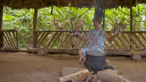Indigenous Shaman Performs A Traditional Magic Ritual On A Drone In Ecuador Footage