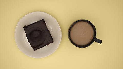 Delicious chocolate cookie and cup of coffee disappear from yellow background - Stop motion Animation
