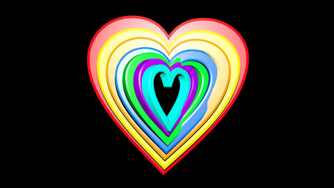 Rainbow hearts in group on black background. Seven hearts in different colors Animation