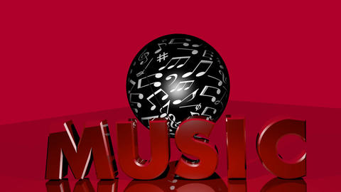 Music planet abstract video. Black sphere with white music notes rotating, red Animation