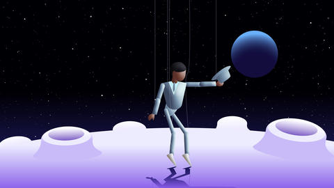Marionette dancer in light blue suit Animation