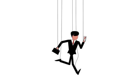 Marionette businessman on strings run Animation