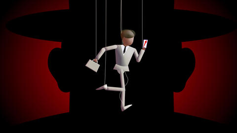 Marionette workers on strings in a hurry substitute each others Animation