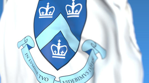 Waving flag with Columbia University emblem, close-up. Editorial loopable 3D Live Action