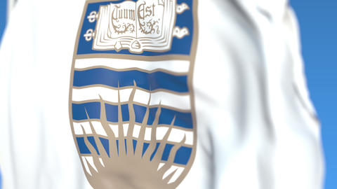 Waving flag with University of British Columbia emblem, close-up. Editorial Live Action