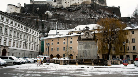 city view Fortress, winter period, Salzburg, Austria Live Action