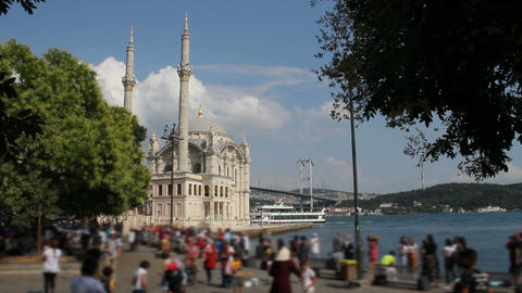 Istanbul landscape. Istanbul's populer touristic destination Ortakoy Mosque, Ortakoy Square and Live Action