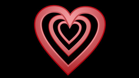 Red hearts composition, five hearts moving on black background, wedding Animation