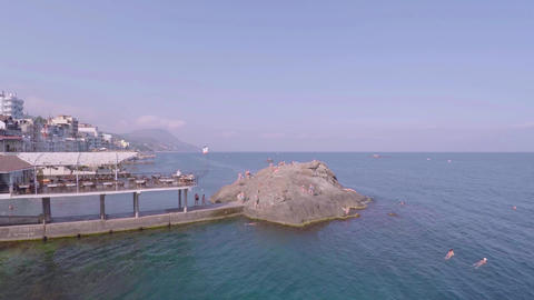 Hotels on the Black Sea in Crimea. The camera goes down. Promenade Footage