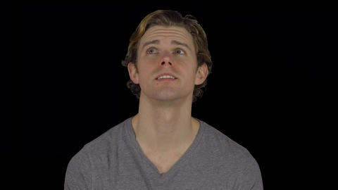 Man is amazed by what is above him (Transparent Background) Live Action