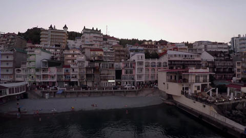 Hotels on the Black Sea in Crimea. The drone flew over the restaurant. Evening Footage