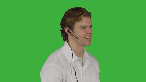 Professional male talks to customer (Green Key) ビデオ