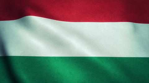 Realistic Ultra-HD flag of the Hungary waving in the wind. Seamless loop with hi Animation